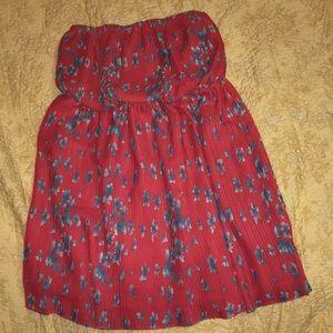 Forever 21 strapless red flowered dress